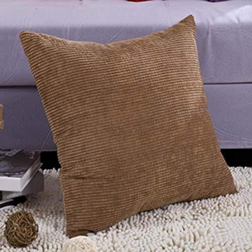 xiaoxong658 Dekokissen Dh618 Corn Fleece Cord Sofa Kissen Bett Kissenbezug mit Core Office Kissen-45x45cm Ärmel mit core_Brown Quadratisches Kissen