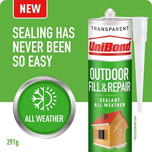 UniBond Outdoor Fill&Repair Sealant, Transparent Polymer Outdoor Sealant, Durable Weatherproof Sealant for Exteriors, Joint Filler, 1 x 291 g Cartridge