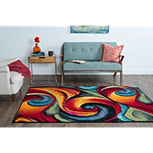 Susan Contemporary Abstract Multi-Color Rectangle Area Rug, 5′ x 7′