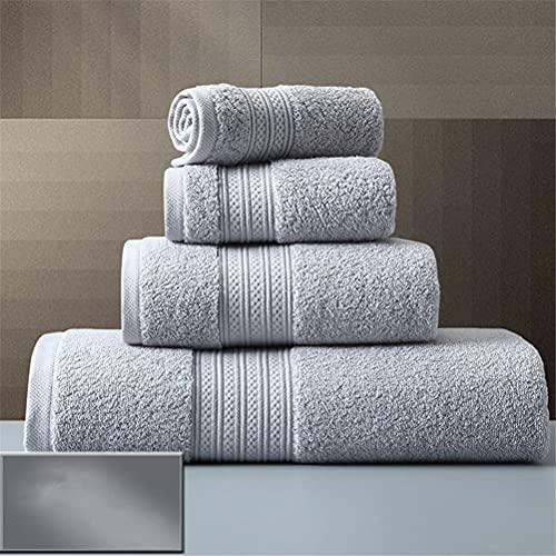 ZZABC MJYSH Juego de Toallas de algodón Toalla de baño Gruesa Grande de Color sólido Toallas de Ducha de Mano para el baño Hotel en casa para Adultos (Color : B, Size : 4pcs Towel Set)