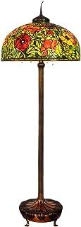 Lampe de lecture de lampe de plancher Tiffany 26 « rétro créative pavot en verre de couleur Tiffany pur lampadaire en cuiv...
