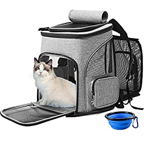 ZolooPet Expandable Pet Backpack Carrier, Cats & Dogs Expandable Backpack Carrier Up to 20 Lbs, Large Capacity Pet Travel Bags for Hiking, Camping, Travelling (Gift Bowl Inside)