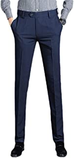 Howely Men's Straight Wrinkle-Resistant Flat Front Easy Care Suit Pants
