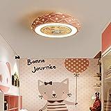 Ouuily Ventilador Luz de Techo LED Iluminación De Techo, Control Remoto Regulable Silenciosamente Ventilador de Techo Lámpara Ventilador de Techo con Iluminación,Rosado
