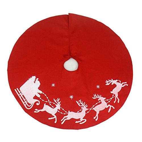 Gardeningwill Tapis de sol rond Père Noël et rennes 99 cm