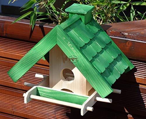 Vogelhaus mit Ständer BTV-X-VOWA3-MS-gras001 Schönes PREMIUM Vogelhaus mit Ständer KLASSIK-PREMIUM Vogelhaus 1,5 L Silo+ SICHTSCHEIBE RUND / GLAS, FUTTERVORRAT-SILO – VOGELFUTTERHAUS , wetterfestes Vogelfutterhaus MIT FUTTERSCHACHT-Futtersilo Futterstation Farbe grasgrün grün PURE GREEN kräftig tannengrün/natur, MIT TIEFEM WETTERSCHUTZ-DACH für trockenes Futter, mit Futterschacht zum Nachfüllen oben, 100% Massivholz, QUALITÄTSPRODUKT vom Schreiner - 5