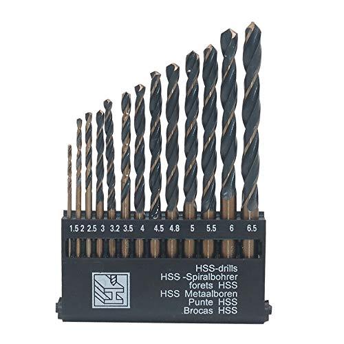 JINKEBIN Drill Hss 6542 Black Trough Straight Shank Twist Drill Set Drill Bit Stainless Steel Mold Steel Copper Aluminum Drill (Color : 25pcs)