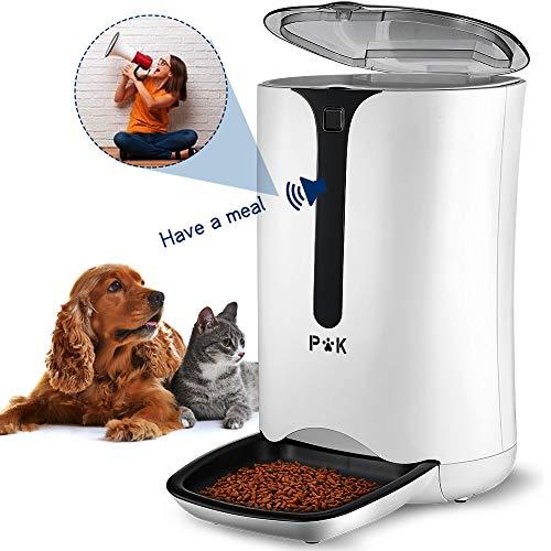 PUPPY KITTY 7L comedero automático para Perros y Gatos con Temporizador Grabación de Voz programable 4 Comidas al día, Alimentador automático para Perros y Gatos con Pantalla LCD (Blanco 2020).