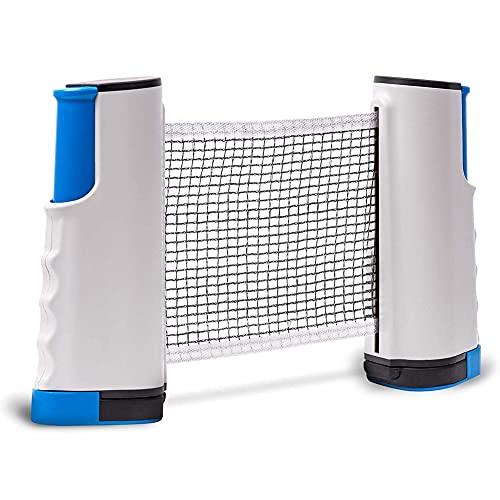 Red de Tenis de Mesa Retráctil, Portátil Table Tennis Net Soporte de Ping Pong Telescópica para Entrenamiento y Actividades al Aire Libre y DeportesAbrazaderas