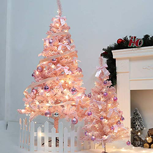 Árbol de Navidad artificial de decoración rosa, 120 cm (4 pies) Árbol...