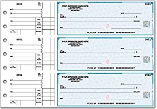 High Security 3-On-A-Page Business Size Checks with stub (Blue)