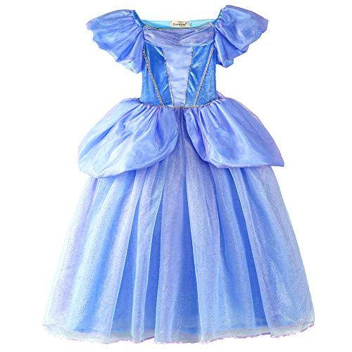 ELSA & ANNA® Filles Reine des Neiges Princesse Partie Costumée Déguisements Robe de Soirée FR-FBA-CNDR2 (5-6 Ans, FR-CNDR2)