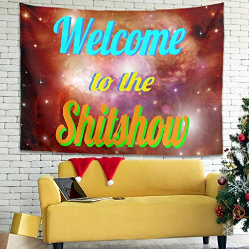 Knowikonwn - Manta decorativa para pared, diseño de texto 'Welcome to The Shitshow', color blanco