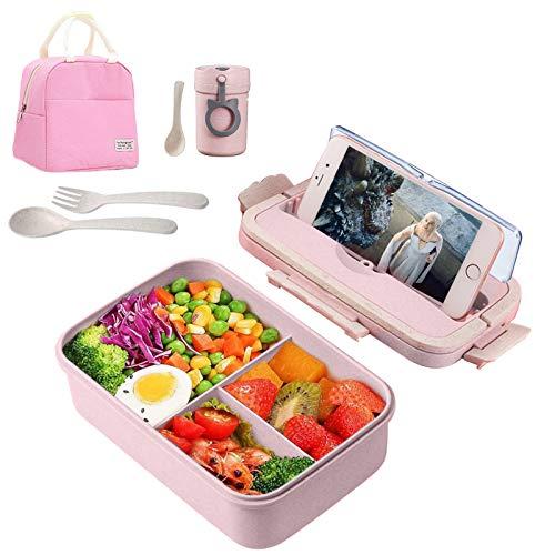 IYOYI Fiambreras Kit, Lunch Box Infantil, Caja de Bento con 3 Compartimentos y Cubiertos (Tenedor y Cuchara) + Bolsa Térmica Almuerzo + Tazas térmicas, para Microondas y Lavavajillas, 100ml, R