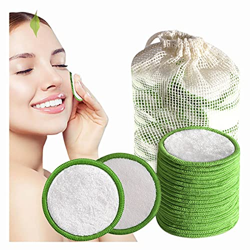 Bamboo Cotton Reusable Makeup Remover Pads, BJYX 20 Packs Washable Eco-Friendly Natural Rounds Facial Clean Pads,Organic Pad for Lip Mascara Eye Shadow Lipstick Foundation,with Laundry Bag