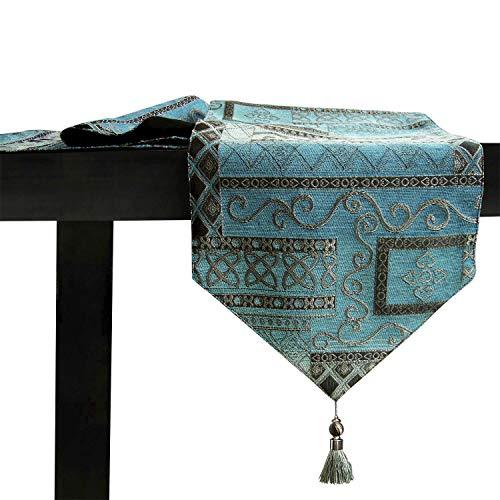 Artbisons Table Runner Handmade Golden Table Runner (120x13, Blue Abstract)