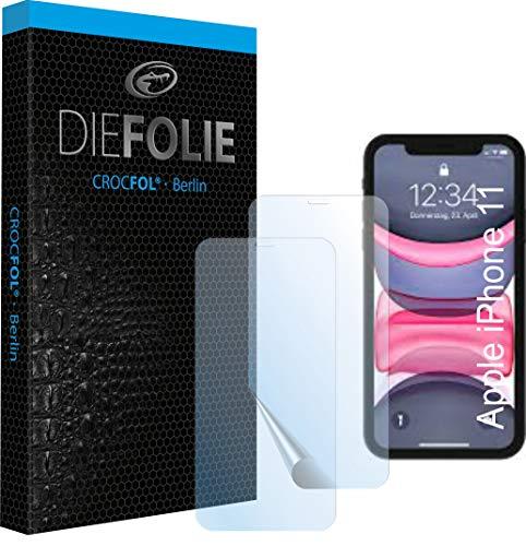 Crocfol Schutzfolie vom Testsieger [2 St.] kompatibel mit Apple iPhone 11 - selbstheilende Premium 5D Langzeit-Panzerfolie inkl. Veredelung - für vorne, hüllenfreundlich