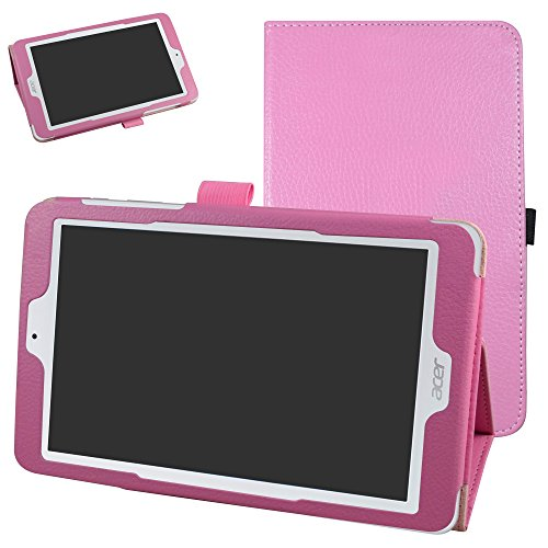 Acer Iconia One 8 B1-850 Case,Mama Mouth PU Leather Folio 2-Folding Stand Cover with Stylus Holder for 8' Acer Iconia One 8 B1-850 Android Tablet,Pink