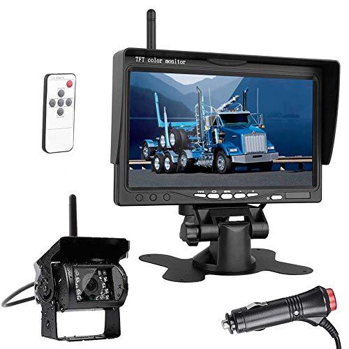 "7"" Wireless Backup Monitor, HD Digital TFT LCD Vehicle Rearview Monitor with IP67waterproof Night Vision reversing Camera for Trucks, RV, Trailer, Motorhome, Bus, Camper"