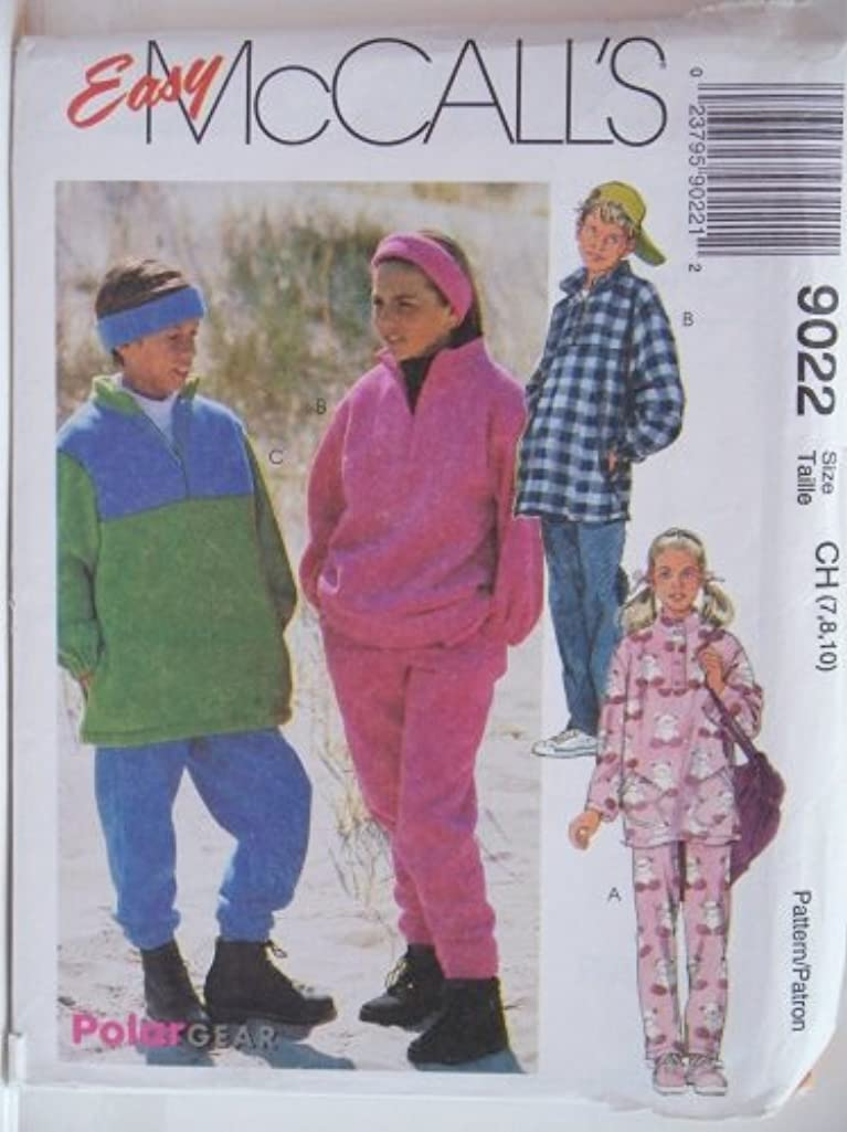 McCall's Pattern 9022 Girls' and Boys' Top, Pull-on Pants and Headband, Size CH (7-8-10)