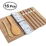 BESTOMZ Kit de Sushi de bambú de 15 Piezas - Incluye 2 Cintas de Sushi 1 servilleta 1 Paleta de arroz 1 esparcidor de arroz 5 Pares de Palillos