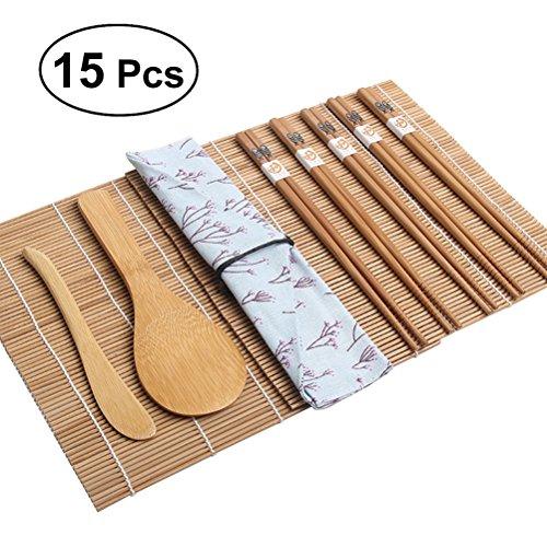 BESTOMZ 15pcs Kit de fabrication de sushis en bambou - Comprend 2 tapis roulants pour sushis 1 serviette 1 pagaie de riz 1 épandeur de riz 5 paires de baguettes
