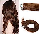 Bette Hair Extensions de cheveux, avec adhésif, 100 % cheveux humains Remy, raides, tête entière, lot de 20, 30 g, 40, 6 cm, couleur #2 marron foncé