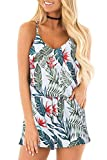 RAISEVERN Womens Floral Romper Summer Casual Cute Short Jumpsuit Hawaiian Tropical Leaves Print Adjustable Spaghetti Straps Loose V Neck Sleeveless White Sexy Cami Rompers with Pockets