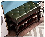 ZIRKOOON Storage Bench, Entryway Shoe Rack wih Leather Seat 2 Tier Lift Top Organizer Wooden Bench for Foyer Bedroom Living Room Accent Furniture (Green and Brown 39.4'')