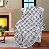 Plaid Sherpa Throw Blanket,Plush Flannel Throws for Couch and Bed,Super Soft Reversible TV Blanket,Comfort Caring Gift 50'x60',Buffalo Grey