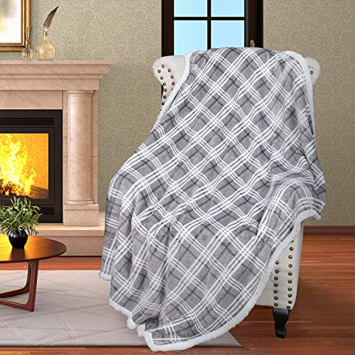 """Plaid Sherpa Throw Blanket, Plush Flannel Throws for Couch and Bed, Super Soft Reversible TV Blanket, Comfort Caring Gift 50""""x60"""", Buffalo Grey"""