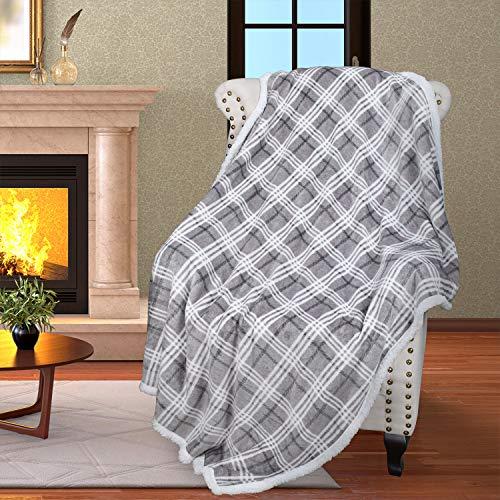 Catalonia Plaid Kariert Sherpa Decke Flauschige Kuscheldecke, Super weiche Fleece Sofadecke Plüsch-Flanell-Decke für Couch und Bett, wendbare TV-Decke, fürsorgliche Geschenk, 127x152cm, Plaid Grau
