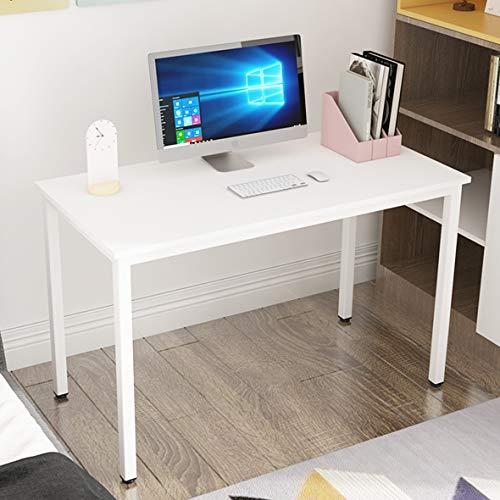 sogesfurniture Mesa de Ordenador Escritorios para Computadora, 120x60 cm Escritorio de Oficina Mesa de PC Mesa de Trabajo Mesa de Estudio de Madera y Acero, Blanco BHEU-LD-AC120WT
