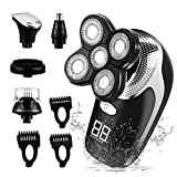 CkeyiN Men's Electric Shaver Rotary Shaver with Beard Nose Hair Trimmer Wet