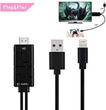 Compatible with iPhone to HDMI Cable for TV Projector Monitor, 6.6ft Digital AV Adapter 1080p HDTV Connector Compatible with iPhone Xs Max XR 8 7 6Plus iPad Pro Mini Air
