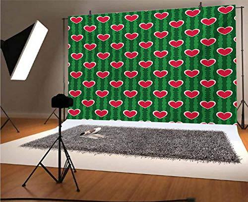 Fondo de vinilo para fotografía de corazones de 1,8 x 1,8 m, símbolo de amor en patrón de sandía con semillas de frutas de fondo para graduación, baile, decoración de cabina de fotos, estudio