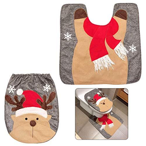 Pveath - Juego de 2 piezas de decoración para inodoro con diseño de Papá Noel, muñeco de nieve y reno, incluye funda para asiento de inodoro y alfombra roja de Navidad, decoración para el baño