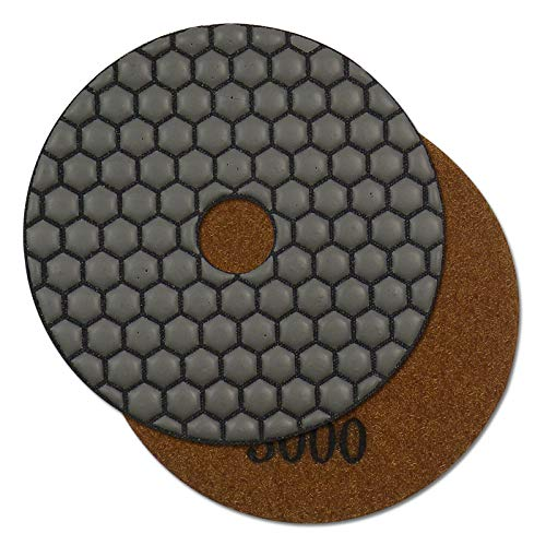 Profi Diamant-Schleifpad für Trockenschliff, D = 125 mm, Körnung 3000, Klettaufnahme, für Naturstein, Kunststein, Granit, Marmor, Glas, Keramik oder Fliesen