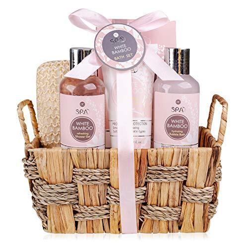 accentra Bade- und Dusch Set SPA, 6-teiliges Beauty-Set im Seegraskorb, Geschenkset für Frauen in einem dekorativen, geflochtenen Korb