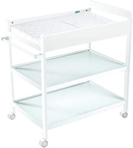 Safety Baby Changing Table with Safety Straps  Save Space Infant Diaper Station Nursery Organizer for Newborn  Multi-Purpose with Lockable Wheels  White  Best Choice