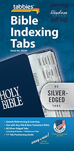 Tabbies Silver-Edged Bible Indexing Tabs, Old & New Testament, 80 Tabs Including 64 Books & 16 Reference Tabs (58339), Silver-Edge (80 Tabs)