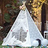 TreeBud Kids Teepee Tent for Girls, White Sheer Lace Play Tent for Indoor and Outdoor Boho Lace Canopy Children's Room Decor