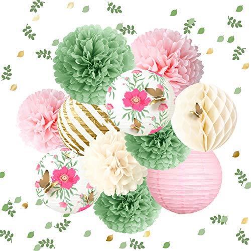 NICROLANDEE Schmetterling-Garten-Baby-Party-Dekorationen – 12 Stück grün-rosa Seidenpapier-Pompoms Papierlaterne 3D Gold-Konfetti 50 g für Feen-Party, Hochzeit, Geburtstag, Ostern, Muttertag, Urlaub