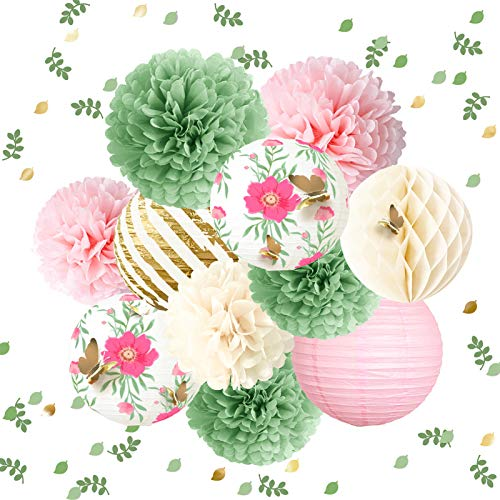 NICROLANDEE Butterfly Garden Baby Shower Decorations -12PCS Green Pink Tissue Pom Poms Paper Lantern 3D Gold Confetti 50G for Fairy Party Wedding Birthday Easter Mother's Day Holiday Home Decor