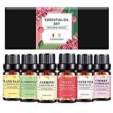 Juego de aceites esenciales florales, Rechoo Pure Floral Collection con Ylang Ylang, Gardenia, jazmín, rosa, té blanco, flor de cerezo, aceite esencial para difusor, ideal para el sueño y masaje de la piel