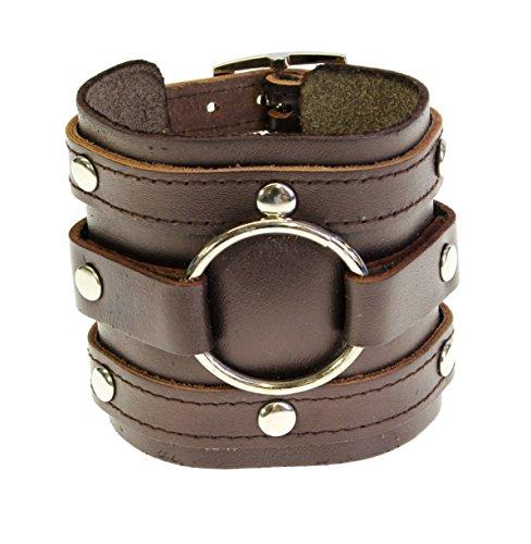 Neptune Giftware Lederarmband mit Dreifach-Stulpe-Verpackungs-Armband Gothic Schnalle - dunkelbraunem Leder