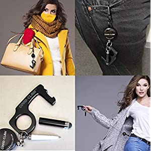"""CovidClaw Hand Hygiene Anodized Aluminum Keychain Claw Tool – 22"""" Expandable Hook Waist Clip WITH Stylus and Writing Pen – Great for Hands NOT Touching Surfaces and Personal Hygiene Delux-Black-C)"""