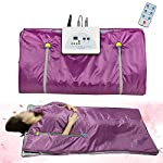 Funwill Far Infrared Sauna Blanket, 2 Zone Controller Digital Heat Sauna Slimming Blanket, Body Shaper Weight Loss Professional Sauna Slimming Blanket Detox Therapy Machine for Home Use, Purple