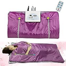 Funwill Far Infrared Sauna Blanket, 2 Zone Controller Digital Heat Sauna Slimming Blanket, Body Shaper Weight Loss Professional Sauna Slimming Blanket Detox Therapy Machine for Home Use, Purple
