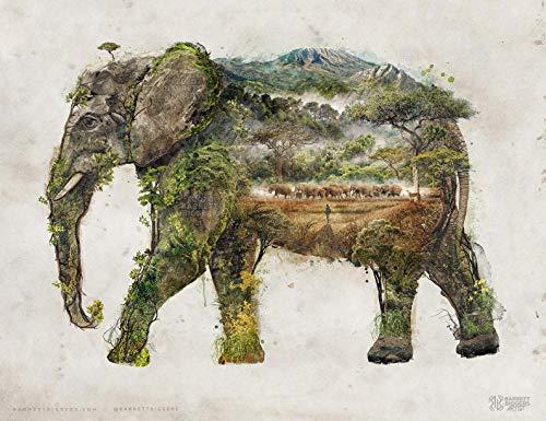 Watercolor Art Print Elephant Wall Art Elephant Art Print Animal Print Watercolor elephant art Surrealistic Animal Art